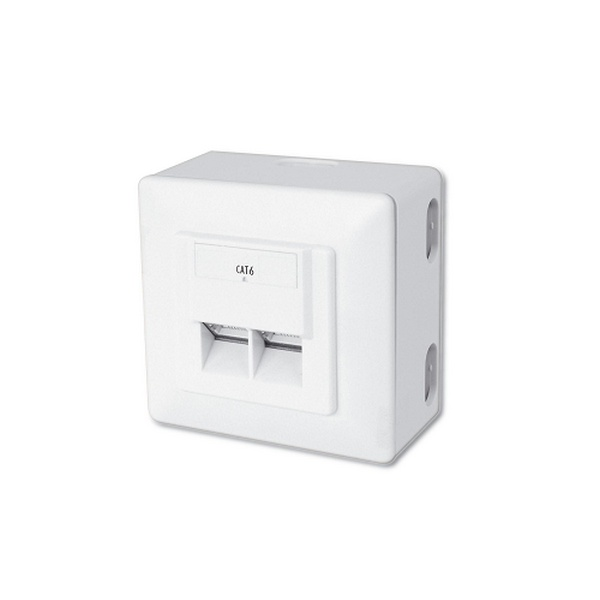 2-PORT RJ45 WALL SOCKET UTP CAT-6 SURFACE OR FLUSH MOUNT