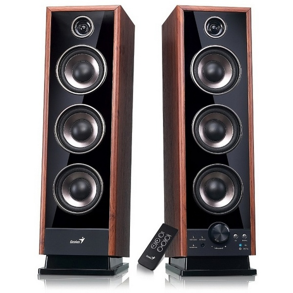 GENIUS SPEAKERS 4WAY, 2.0, 60W, BROWN, WOODEN ALL, 3LINE-IN