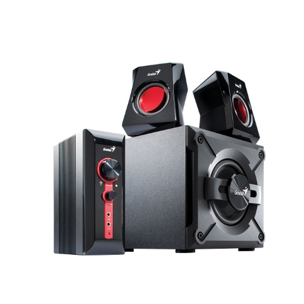 GENIUS SPEAKERS 2WAY, 2.1, 38W, WOODEN SUB,BLACK