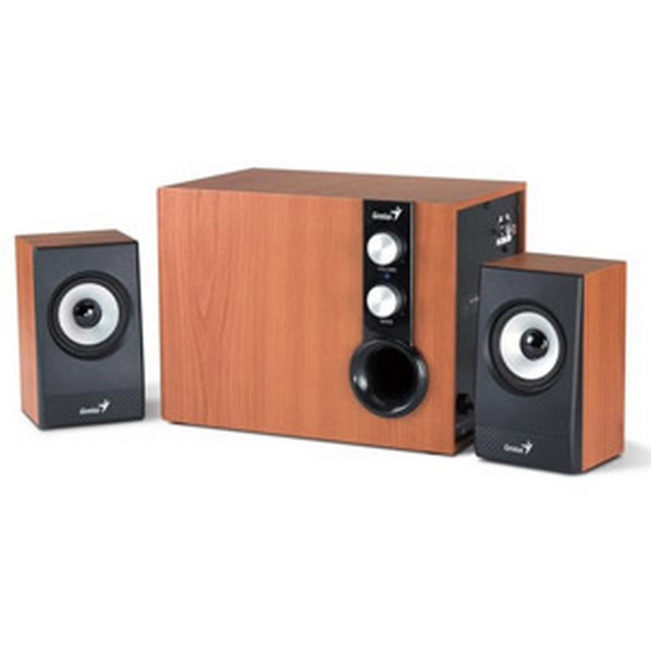 GENIUS SPEAKERS 2WAY, 2.1, 32W, BROWN, WOODEN ALL, 1LINE-IN