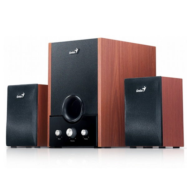GENIUS SPEAKERS 2WAY, 2.1, 45W, BROWN, WOODEN ALL, 1LINE-IN